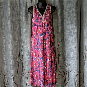 ☀️3/$25 Lucky Brand Floral Boho Beaded Sun Dress